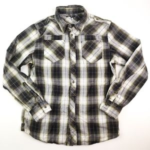 Affliction Long Sleeve Plaid Button Front Shirt